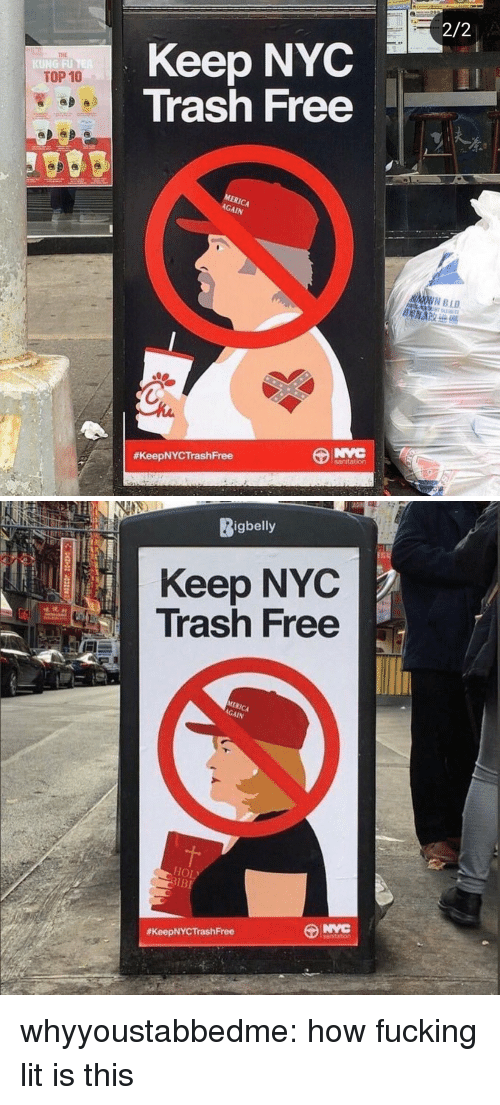Fucking, Lit, and Target: 2/2  Keep NYOC  Trash Free  THE  KUNG FU  TOP 10  MERICA  AGAIN  NNOWN B.ID  sanitation  #KeepNYCTrash Free   Rigbelly  Keep NYC  Trash Free  HO whyyoustabbedme: how fucking lit is this