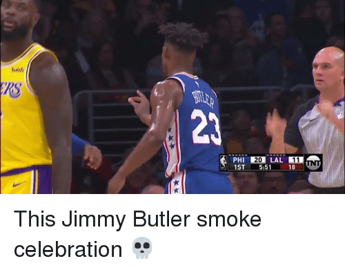 Jimmy Butler, Butler, and Jimmy: 2  20 LAL 11  1ST 5:51 18 This Jimmy Butler smoke celebration 💀