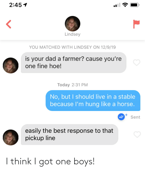 Farmer: 2:45 1  Lindsey  YOU MATCHED WITH LINDSEY ON 12/9/19  is your dad a farmer? cause you're  one fine hoe!  Today 2:31 PM  No, but I should live in a stable  because l'm hung like a horse.  Sent  easily the best response to that  pickup line I think I got one boys!