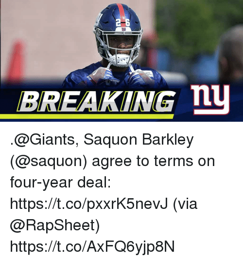 Memes, Giants, and 🤖: 2-6  BREAKING n .@Giants, Saquon Barkley (@saquon) agree to terms on four-year deal: https://t.co/pxxrK5nevJ (via @RapSheet) https://t.co/AxFQ6yjp8N