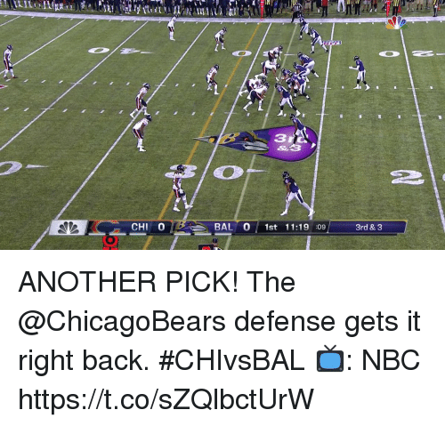 Memes, Back, and 🤖: 2  CHI 0  BAL 0 1st 11:19 :09  3rd & 3 ANOTHER PICK! The @ChicagoBears defense gets it right back. #CHIvsBAL   📺: NBC https://t.co/sZQlbctUrW