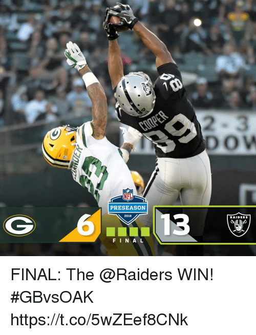 Memes, Nfl, and Nfl Preseason: 2  DOW  NFL  PRESEASON  2018  RAIDERS  FINA L FINAL: The @Raiders WIN! #GBvsOAK https://t.co/5wZEef8CNk