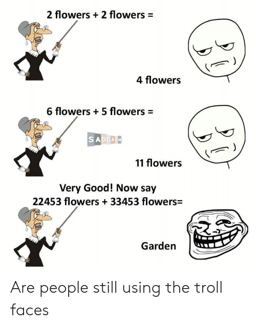 troll faces: 2 flowers 2 flowers  =  4 flowers  6 flowers 5 flowers  SADCASM  11 flowers  Very Good! Now say  22453 flowers +33453 flowers  Garden Are people still using the troll faces