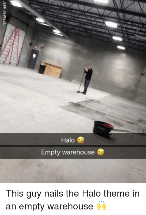 Warehouse: 2  Halo  Empty warehouse This guy nails the Halo theme in an empty warehouse 🙌