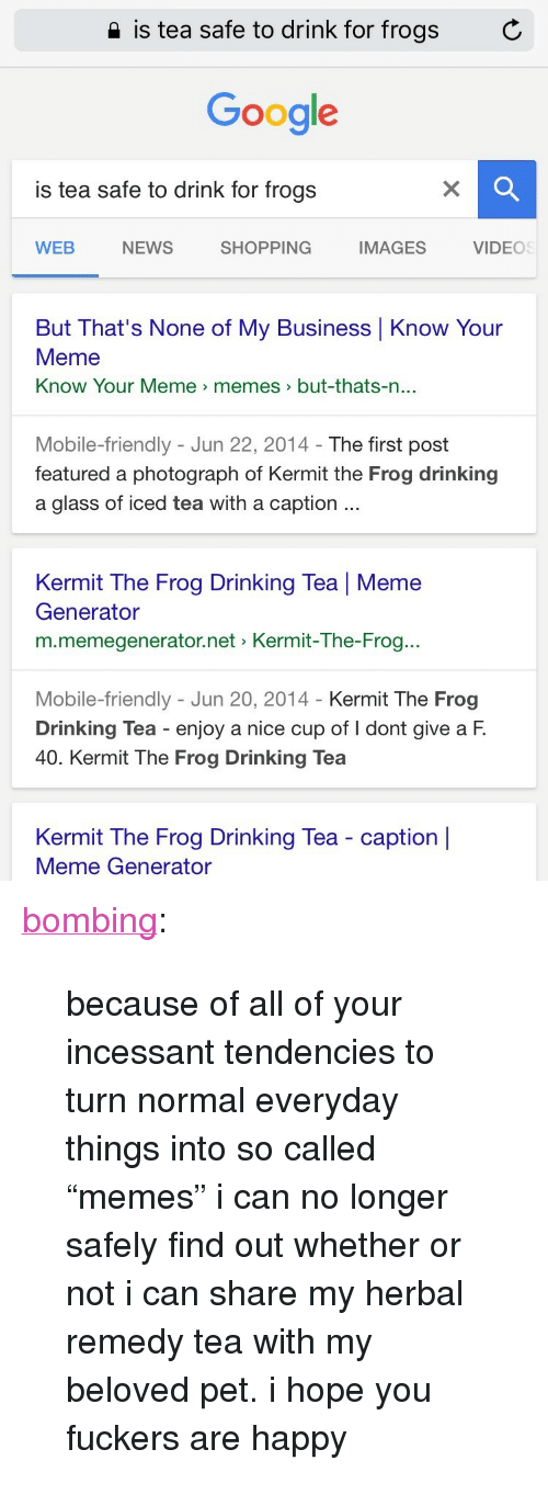 """Drinking, Google, and Kermit the Frog: 2 is tea safe to drink for frogs  C  Google  is tea safe to drink for frogs  WEB  NEWS  SHOPPING  IMAGES  VIDEOS  But That's None of My Business Know Your  Meme  Know Your Meme > memes  >but-thats-n  ...  Mobile-friendly - Jun 22, 2014- The first post  featured a photograph of Kermit the Frog drinking  a glass of iced tea with a caption  Kermit The Frog Drinking Tea 