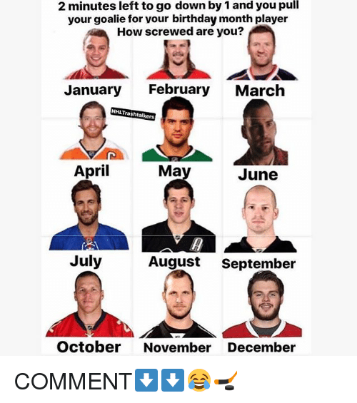 Birthday Month: 2 minutes left to go down by 1 and you pull  your goalie for vour birthday month player  How screwed are you?  January  February  March  NHLTrashtalkers  April  Ma  June  July  August  September  October November December COMMENT⬇️⬇️😂🏒