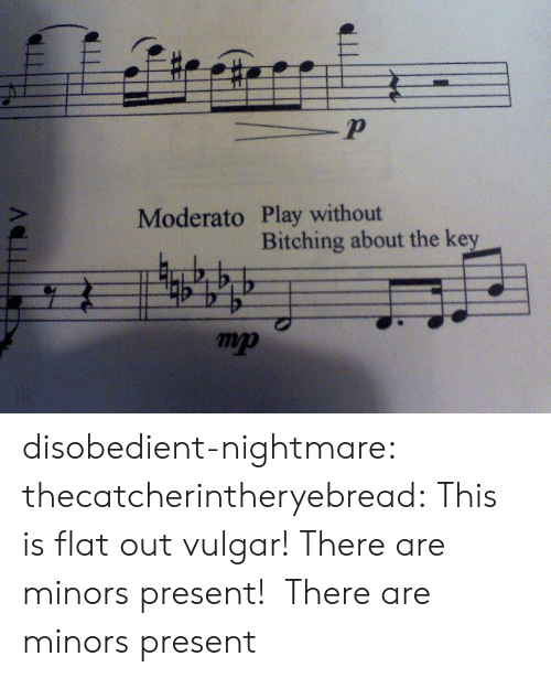 Tumblr, Blog, and Http: 2  Moderato Play without  Bitching about the key  mp disobedient-nightmare:  thecatcherintheryebread:  This is flat outvulgar! There are minors present!  There are minors present
