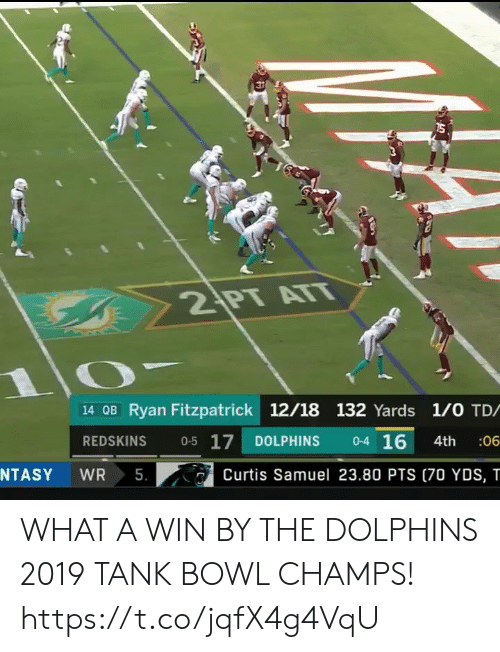 1 0: 2 PT ATT  14 OB Ryan Fitzpatrick 12/18 132 Yards 1/0 TD/  0-4 16  0-5 17  REDSKINS  DOLPHINS  :06  4th  5.  NTASY  WR  Curtis Samuel 23.80 PTS (70 YDS, T WHAT A WIN BY THE DOLPHINS  2019 TANK BOWL CHAMPS!  https://t.co/jqfX4g4VqU