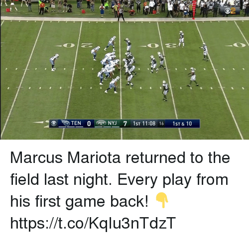 marcus mariota: 2  TEN 04D NYJ 71ST 11:08 16 1ST&10 Marcus Mariota returned to the field last night.  Every play from his first game back! 👇 https://t.co/KqIu3nTdzT