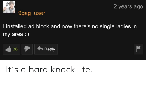 9gag, Life, and Single: 2 years ago  9gag_user  l installed ad block and now there's no single ladies in  my area(  38  Reply It's a hard knock life.
