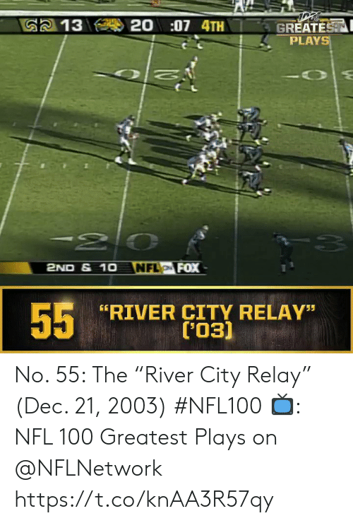 """river: 20:07 4TH  G2 13  GREATEST  PLAYS  -20  NFL FOX  2ND & 1O  55  RIVER CITY RELAY""""  ('03) No. 55: The """"River City Relay"""" (Dec. 21, 2003) #NFL100  ?: NFL 100 Greatest Plays on @NFLNetwork https://t.co/knAA3R57qy"""