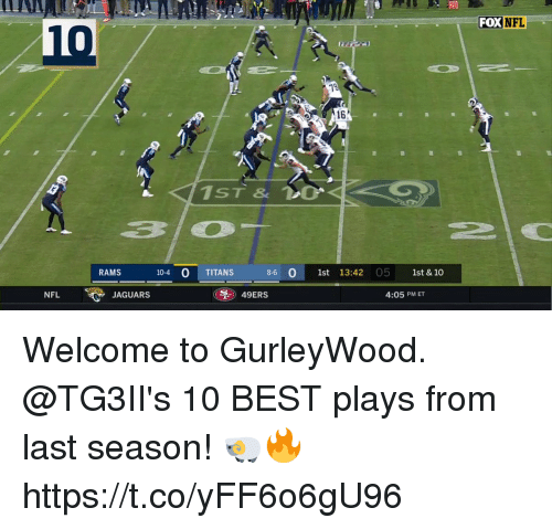 San Francisco 49ers, Memes, and Nfl: 20  FOXNFL  10  16  310  RAMS  10-4 0 TITANS  8-6 1st 13:42 05 1st & 10  NFL  JAGUARS  49ERS  4:05 PM ET Welcome to GurleyWood.  @TG3II's 10 BEST plays from last season! 🐏🔥 https://t.co/yFF6o6gU96