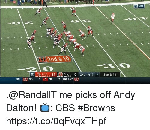 Andy Dalton: 20  O NFL  2nd & 10  13-6-1]  (5-5)  7 2ND 8:47 .@RandallTime picks off Andy Dalton!  📺: CBS #Browns https://t.co/0qFvqxTHpf