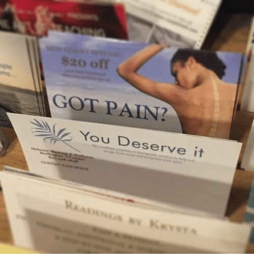 Pain, Got, and You: 20 off  GOT PAIN  You Deserve it