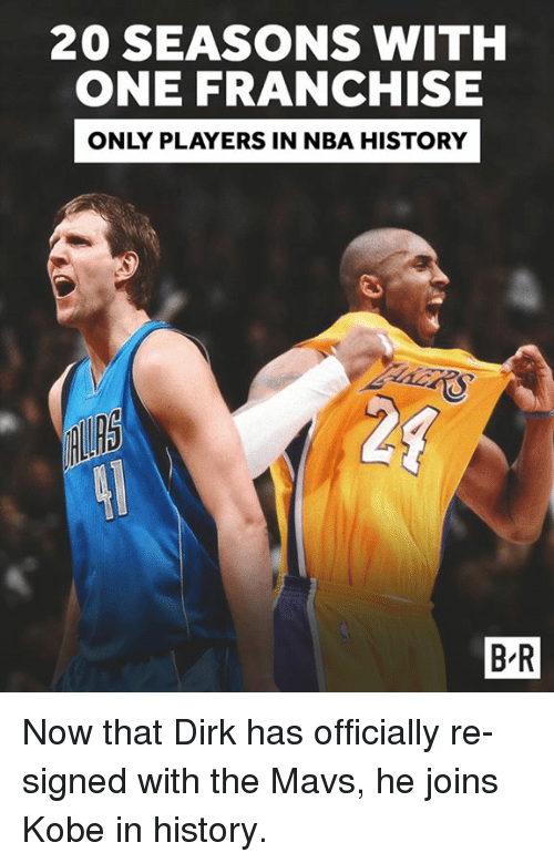 Nba, History, and Kobe: 20 SEASONSWITH  ONE FRANCHISE  ONLY PLAYERS IN NBA HISTORY  20  B-R Now that Dirk has officially re-signed with the Mavs, he joins Kobe in history.
