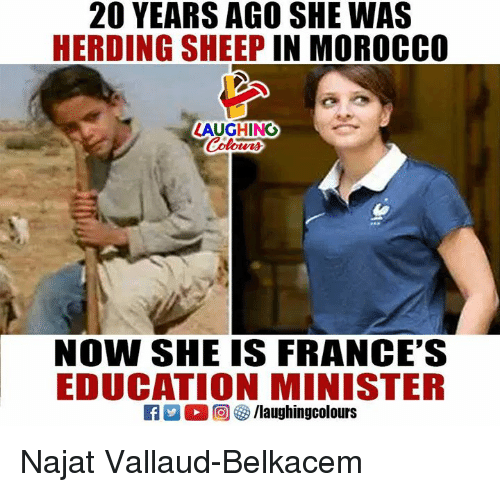Morocco: 20 YEARS AGO SHE WAS  HERDING SHEEP IN MOROCCO  LAUGHING  NOW SHE IS FRANCE'S  EDUCATION MINISTER Najat Vallaud-Belkacem