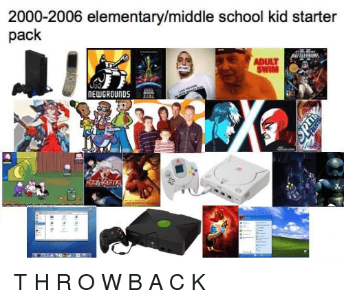 New Grounds: 2000-2006 elementary/middle school kid starter  pack  ADULT  NEW GROUNDS T H R O W B A C K