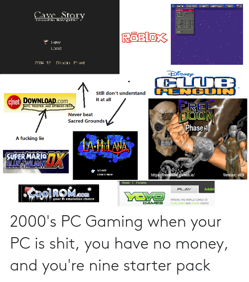 No Money: 2000's PC Gaming when your PC is shit, you have no money, and you're nine starter pack
