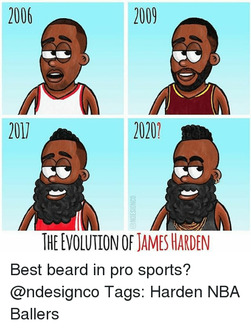 Beard, James Harden, and Memes: 2006  2009  201  2020  THE EVOLUTION OF JAMES HARDEN Best beard in pro sports? @ndesignco Tags: Harden NBA Ballers