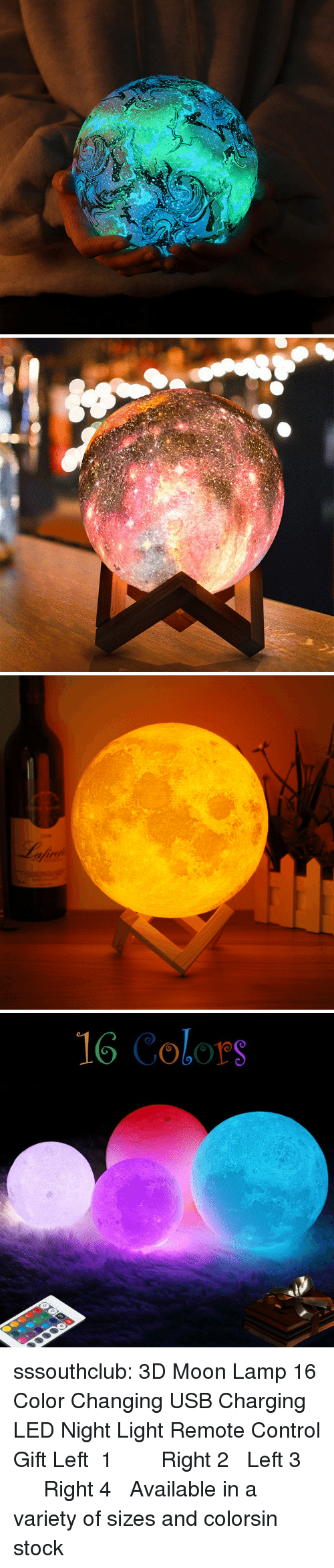 Tumblr, Control, and Blog: 2006  fuv   16 Colors sssouthclub: 3D Moon Lamp 16 Color Changing USB Charging LED Night Light Remote Control Gift  Left 1  ☆★  Right 2   Left 3  ☆★  Right 4  Available in a variety of sizes and colors,in stock