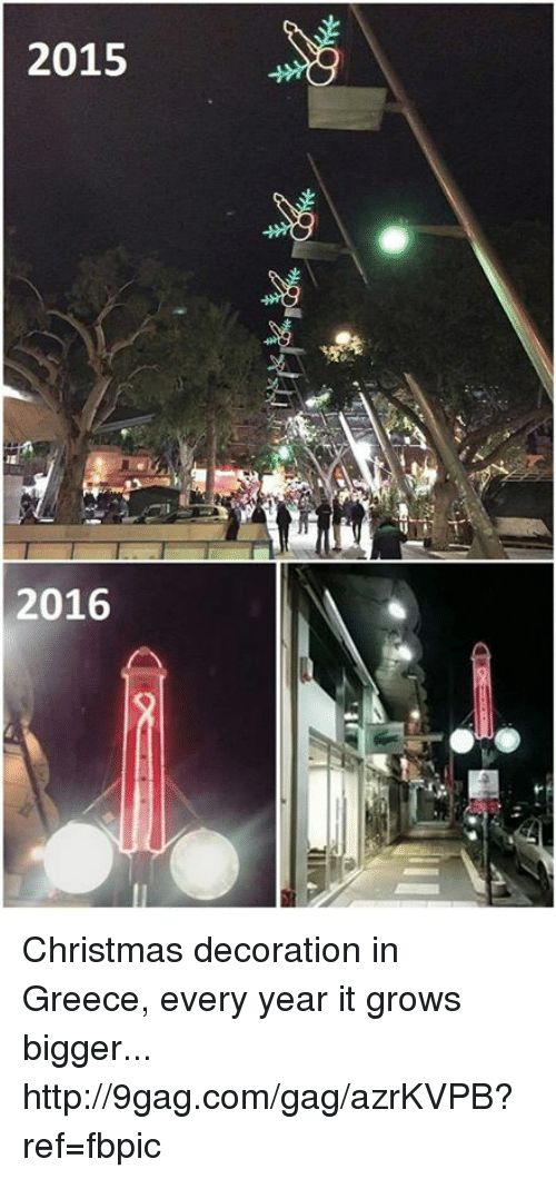 9gag, Dank, and Greece: 2015  2016 Christmas decoration in Greece, every year it grows bigger... http://9gag.com/gag/azrKVPB?ref=fbpic