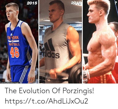 Getty Images: 2015  2019  dds  EW YORK  ASKETBALL  46  Sppm  Dayid Dow/NBAE/Getty Images The Evolution Of Porzingis! https://t.co/AhdLiJxOu2