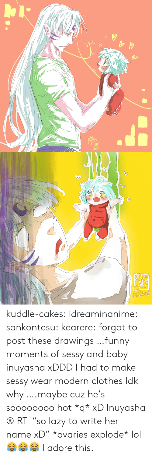 """Drawings: 2015   21/5/2013 kuddle-cakes:  idreaminanime:  sankontesu:  kearere:  forgot to post these drawings …funny moments of sessy and baby inuyasha xDDD I had to make sessy wear modern clothes Idk why ….maybe cuz he's soooooooo hot *q* xD Inuyasha ® RT """"so lazy to write her name xD""""  *ovaries explode*  lol  😂😂😂 I adore this."""