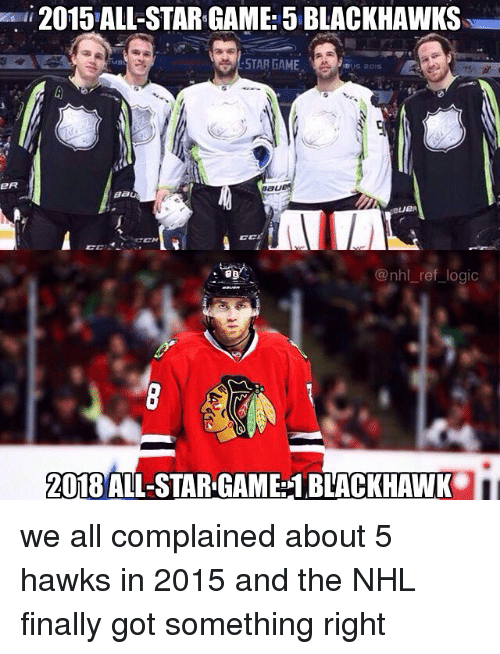 All Star, Blackhawks, and Logic: 2015 ALL-STAR GAME: 5 BLACKHAWKS  STAR GAME  @nhl ref logic  2018 ALL-STAR GAME:1 BLACKHAWK we all complained about 5 hawks in 2015 and the NHL finally got something right