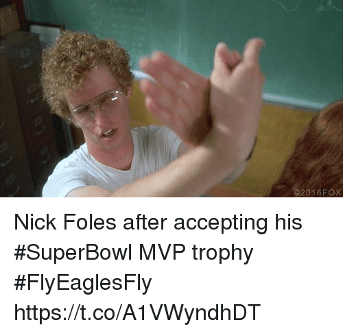 Sizzle: 2016FOX Nick Foles after accepting his #SuperBowl MVP trophy #FlyEaglesFly https://t.co/A1VWyndhDT