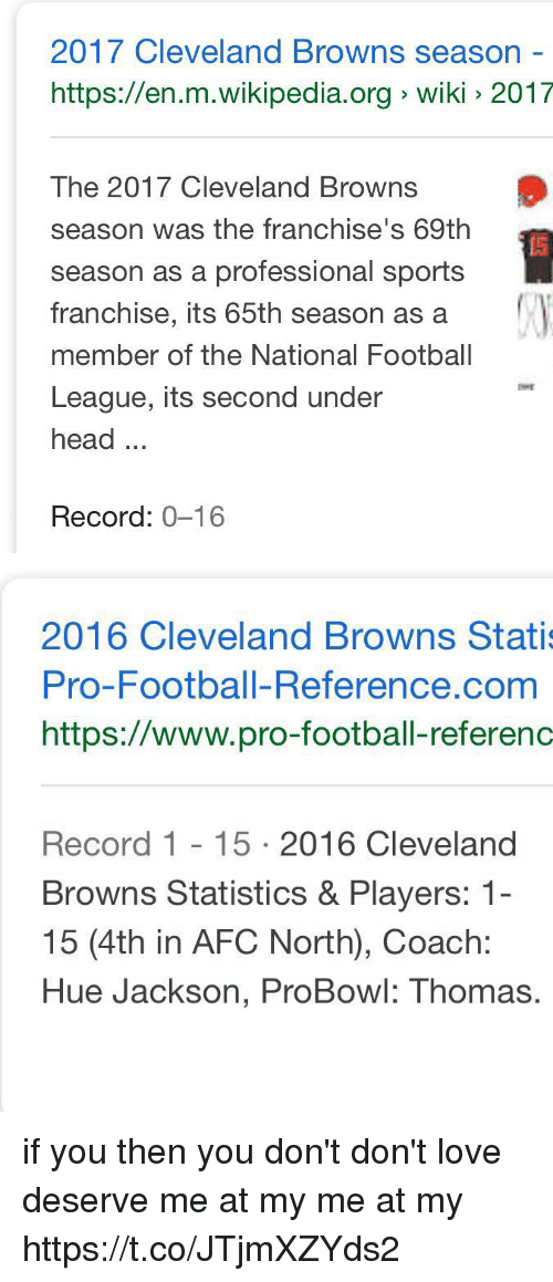franchises: 2017 Cleveland Browns season -  https://en.m.wikipedia.org wiki 2017  The 2017 Cleveland Browns  season was the franchise's 69th  season as a professional sports  franchise, its 65th season as a  member of the National Football  League, its second under  head...  Record: 0-16   2016 Cleveland Browns Stati  Pro-Football-Reference.com  https://www.pro-football-referenc  Record 1 15 2016 Cleveland  Browns Statistics & Players: 1-  15 (4th in AFC North), Coach:  Hue Jackson, ProBowl: Thomas. if you                           then you don't  don't love                    deserve  me at my                     me at my https://t.co/JTjmXZYds2