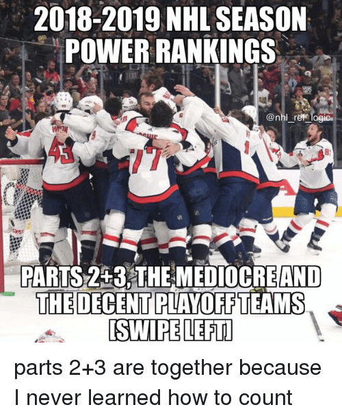 Mediocre, Memes, and National Hockey League (NHL): 2018-2019 NHL SEASON  POWER RANKINGS  43  @nhl re logio  OCIC  43  PARTS253THE MEDIOCRE  AND  PLAYOFFTEAMS  SWIPE LEFT  THE DECENT parts 2+3 are together because I never learned how to count