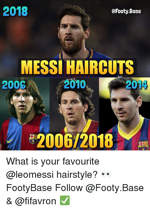 Memes, Haircuts, and Messi: 2018  @Footy.Base  MESSI HAIRCUTS  2010  2006  2014  2006/2018 What is your favourite @leomessi hairstyle? 👀 FootyBase Follow @Footy.Base & @fifavron ✅