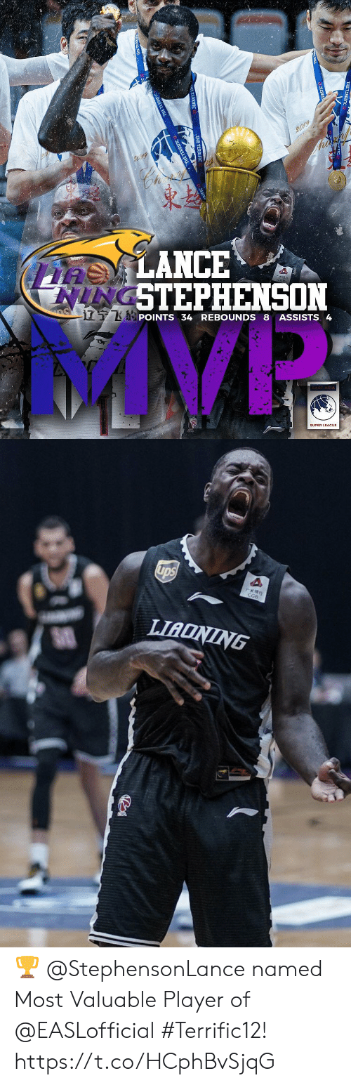 UPS: 2019  asLANCE  NINGSTEPHENSON  S  TKPOINTS 34 REBOUNDS 8 ASSISTS 4  AST ASIA  SUPER LEAGUE  TERRIFIC  E TERDIEIC   ups  rERS  CGB  LIADNING ? @StephensonLance named Most Valuable Player of @EASLofficial #Terrific12! https://t.co/HCphBvSjqG