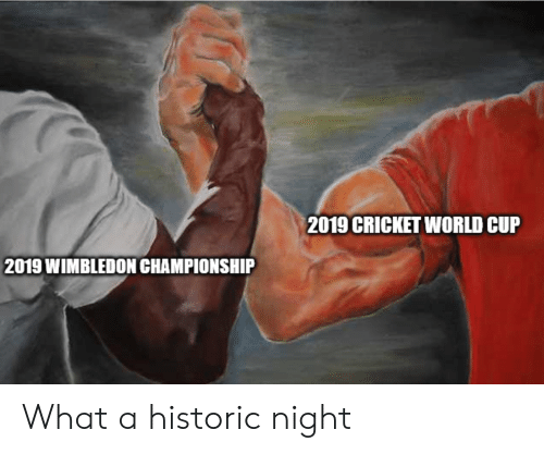 cricket world cup: 2019 CRICKET WORLD CUP  2019 WIMBLEDON CHAMPIONSHIP What a historic night