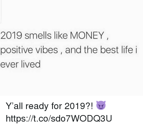 positive vibes: 2019 smells like MONEY  positive vibes, and the best life i  ever lived Y'all ready for 2019?! 😈 https://t.co/sdo7WODQ3U