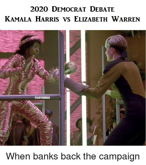 Elizabeth Warren, Politics, and Banks: 2020 DEMOCRAT DEBATE  KAMALA HARRIS VS ELIZABETH WARREN  LOYDDIGG