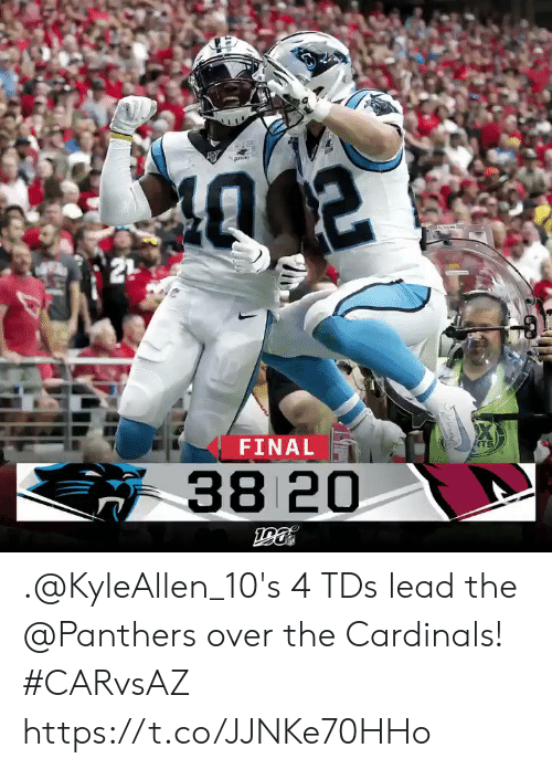 Cardinals: 21  FINAL  ATS  38 20 .@KyleAllen_10's 4 TDs lead the @Panthers over the Cardinals! #CARvsAZ https://t.co/JJNKe70HHo