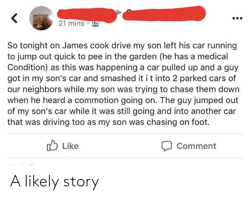 Cars, Driving, and Chase: 21 mins  So tonight on James cook drive my son left his car running  to jump out quick to pee in the garden (he has a medical  Condition) as this was happening a car pulled up and a guy  got in my son's car and smashed it it into 2 parked cars of  our neighbors while my son was trying to chase them down  when he heard a commotion going on. The guy jumped out  of my son's car while it was still going and into another car  that was driving too as my son was chasing on foot.  O Like  Comment A likely story