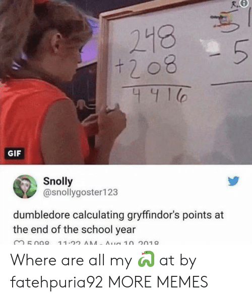 Calculating: 218  411  GIF  Snolly  @snollygoster123  dumbledore calculating gryffindor's points at  the end of the school year Where are all my 🐍 at by fatehpuria92 MORE MEMES