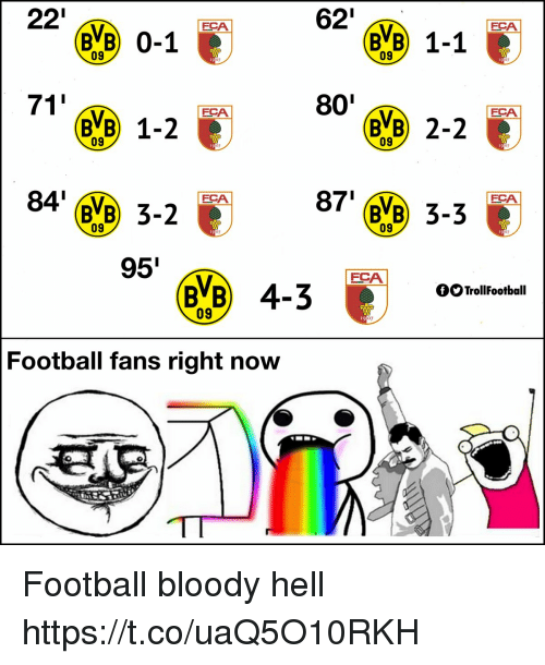 Football, Memes, and Hell: 22'  62'  FCA  FCA  (BVB) 0-1  (BE) 1-2  84' BVB 3-2  BB) 1-1  09  t9  07  19  07  71  801  FCA  FCA  09  09  07  07  87' VB 3-3  FCA  FCA  09  09  07  07  95  FCA  BVB 4-300  OOTrollFootball  19  Football fans right now Football bloody hell https://t.co/uaQ5O10RKH