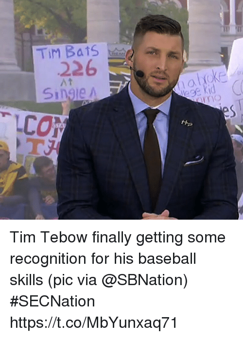 Tebowing: 226  At  Single A Tim Tebow finally getting some recognition for his baseball skills   (pic via @SBNation) #SECNation https://t.co/MbYunxaq71