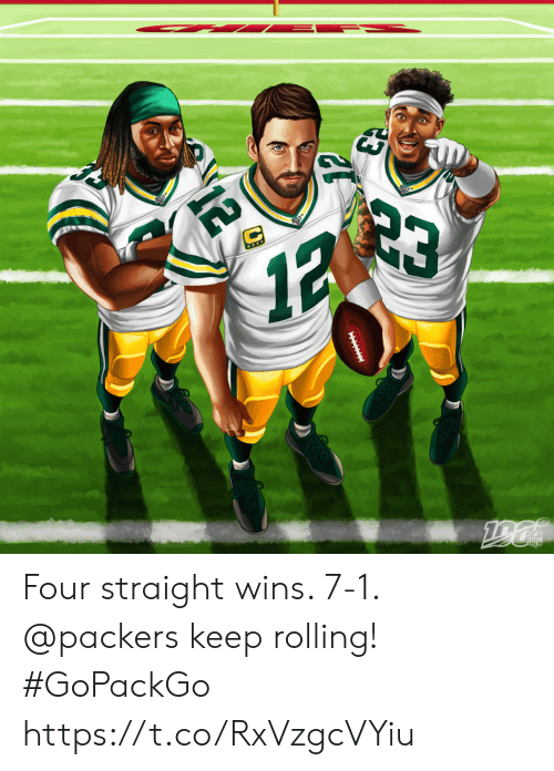 rolling: 23  12  ***  190  NFL  IITIE  12 Four straight wins. 7-1.  @packers keep rolling! #GoPackGo https://t.co/RxVzgcVYiu