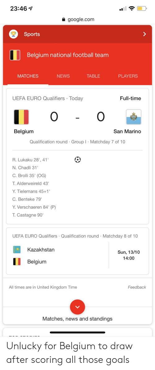 Qualifiers: 23:46  google.com  Sports  Belgium national football team  MATCHES  NEWS  TABLE  PLAYERS  UEFA EURO Qualifiers Today  Full-time  O O  San Marino  Belgium  Qualification round Group I Matchday 7 of 10  R. Lukaku 28', 41'  N.Chadli 31  C. Brolli 35' (OG)  T.Alderweireld 43'  Y.Tielemans 45+1  C. Benteke 79'  Y.Verschaeren 84' (P)  T.Castagne 90'  UEFA EURO Qualifiers Qualification round Matchday 8 of 10  Kazakhstan  Sun, 13/10  14:00  Belgium  All times are in United Kingdom Time  Feedback  Matches, news and standings Unlucky for Belgium to draw after scoring all those goals
