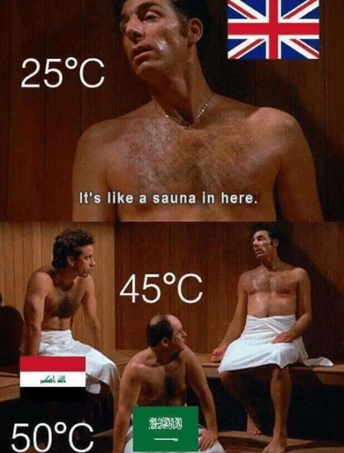 Memes, 🤖, and Sauna: 25°C  It's like a sauna in here.  45°C  50°C