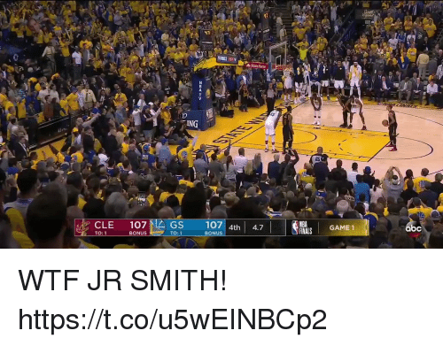 J.R. Smith, Memes, and Nba: 25  17 4h 4.7  BONUS  NBA  FNALS GAME 1  CLE 107  TO: 1  GS  bc  BONUS  TO:1 WTF JR SMITH!  https://t.co/u5wEINBCp2