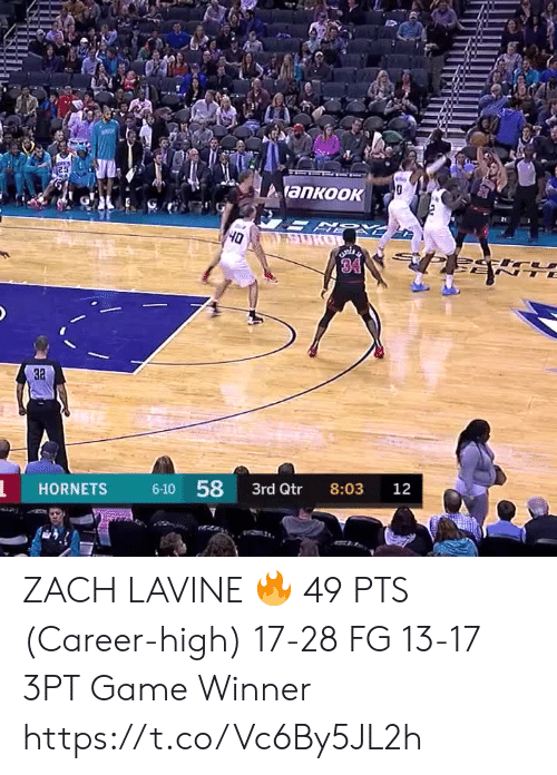 Zach: 25  y  ankook  SURO  Oh  34  TE  3a  6-10 58  HORNETS  3rd Qtr  8:03  12 ZACH LAVINE 🔥  49 PTS (Career-high) 17-28 FG 13-17 3PT Game Winner  https://t.co/Vc6By5JL2h