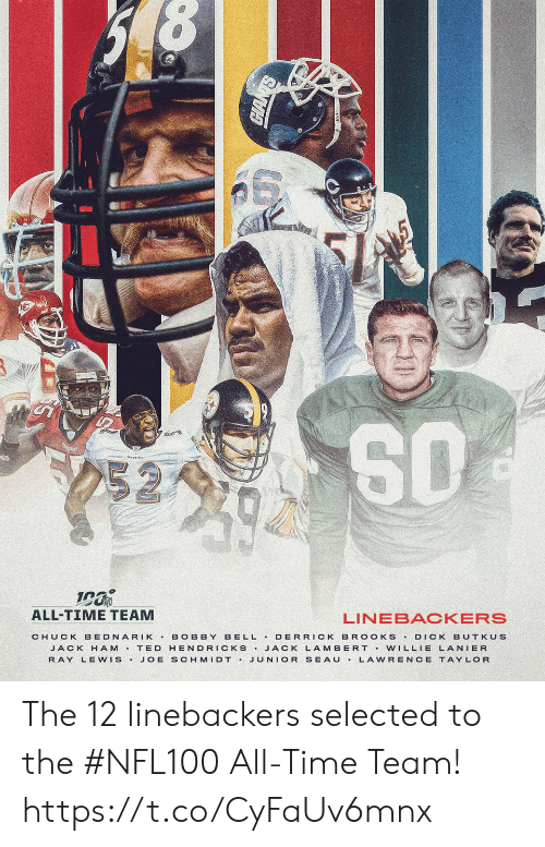 All Time: 252  ALL-TIME TEAM  LINEBACKERS  BELL DERRICK BR OOKS  CHUCK BEDNARIK  BOBBY  DICK BUTKUS  JACK H AM T ED HENDRICKS JACK LAMBERT Vw ILLIE LANIER  JUNIOR SEAU  RAY LEWIS.  JOE SCHMIDT .  LAWRENCE TAYLOR The 12 linebackers selected to the #NFL100 All-Time Team! https://t.co/CyFaUv6mnx