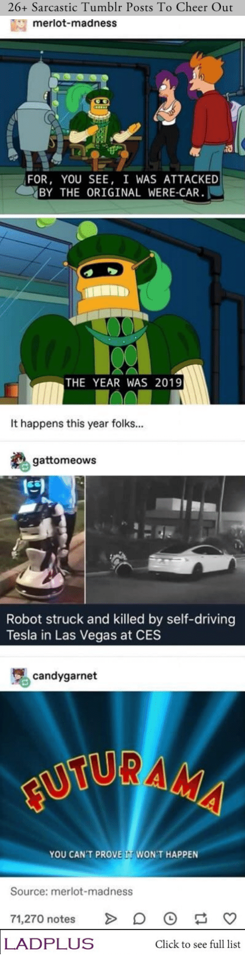 madness: 26+ Sarcastic Tumblr Posts To Cheer Out  merlot-madness  FOR, YOU SEE, I WAS ATTACKED  BY THE ORIGINAL WERE-CAR  THE YEAR WAS 2019  It happens this year folks...  gattomeows  Robot struck and killed by self-driving  Tesla in Las Vegas at CES  candygarnet  FUTURAMA  YOU CAN'T PROVE IT WON'T HAPPEN  Source: merlot-madness  71,270 notes  LADPLUS  Click to see full list