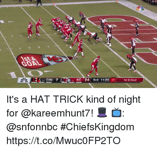 Memes, Goal, and 🤖: 27  GOAL  1st & Goal  : 42 CIN 7  1 KC 24 3rd 11:28 :07  5-1  4-2 It's a HAT TRICK kind of night for @kareemhunt7! 🎩  📺: @snfonnbc #ChiefsKingdom https://t.co/Mwuc0FP2TO
