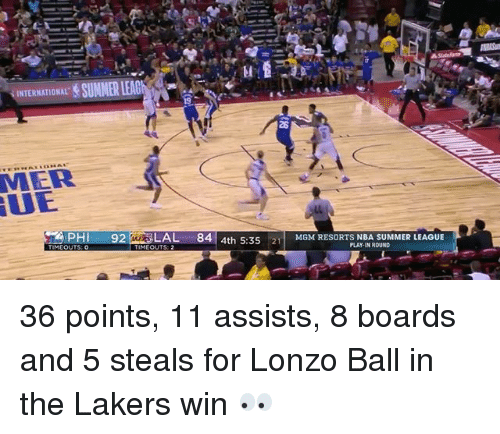 ues: 28  MER  UE  PH 92AL 84 4th 5:3521MMRESORTS NBA SUMMER LEAGUE  MGM RESORTS NBA SUMMER LEAGUE  PLAY-IN ROUND  MEOUTS: 2 36 points, 11 assists, 8 boards and 5 steals for Lonzo Ball in the Lakers win 👀